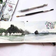 #moleskine #thesketchingbackpacker #watercolor #sketchbook #sketch #drawing #illustration #travel #sketchpad #art #slowtravel #backpacking #...