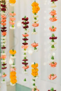 Indian inspired wedding decorations - carnations - perfect for a mandap! Flower Backdrop, Flower Garlands, Flower Decorations, Hanging Flowers, Floral Garland, Ceremony Backdrop, Flower Garland Wedding, Flower Curtain, Hanging Garland