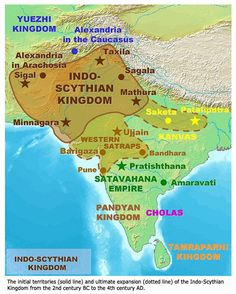 Indo-Scythian rule in India ended with the last Western Satrap Rudrasimha III in 395 CE. Description from twcenter.net. I searched for this on bing.com/images