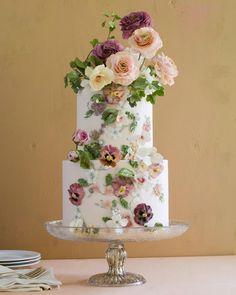 """Maggie Austin on Instagram: """"Full portrait of @bhldn inspired cake. Thanks for the inspiration!"""" Floral Wedding Cakes, Elegant Wedding Cakes, Floral Cake, Wedding Cake Designs, Wedding Flowers, Gorgeous Cakes, Pretty Cakes, Amazing Wedding Cakes, Amazing Cakes"""