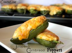 ~Jalapeno Cornbread Poppers! I made these for Super Bowl and they're yummy! Next time I'll try to get them spicier. I took out a little too much of the ribs, in fear they'd be scorching, but they're really quite mild. I did add bacon too, as people suggested. Takes some time to make, but totally worth it! :)