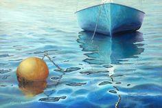 Calm turquoise sea - Original Oil Painting on canvas. by Miki Karni. $2,950.00, via Etsy.
