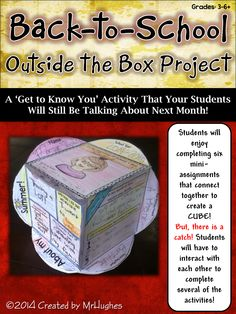 This activity has your students get to know each other with assignments that require them to talk and interact, AND, if the six mini-assignments weren't engaging enough, students will connect them together to form a cube. ($)