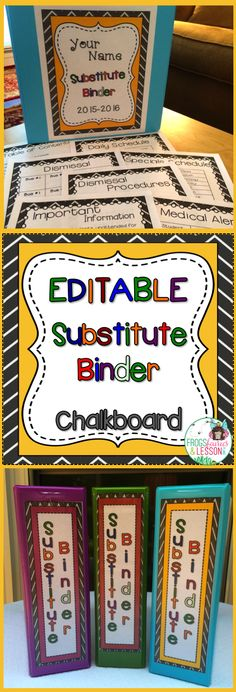 EDITABLE substitute binder! Cover choices and templates that will make it easy for you to take a sick day when you need one! Just click and edit each page for a professional looking and effective Substitute Binder!