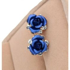 $17.99   Elegant Sweet Blue Rose Rhinestone Earrings Studs   Color: Blue
