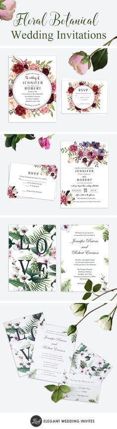pretty cheap floral botanical wedding invites