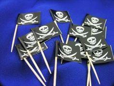 Pirate Skull & Bones Cupcake Flag picks