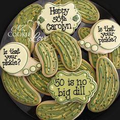 Is that your pickle? Inside joke between two lifelong friends. #azcookielove #royalicing #decoratedcookies #birthday #birthdaycookies…