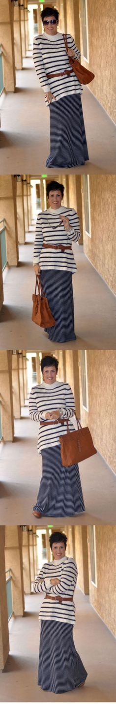 Dress With Purpose :: Be Inspired :: Sweaters :: White & Navy Stripes :: Choose everyday to Dress With Purpose! www.dresswithpurpose.com #style #dresswithpurpose #ootd #stripes #maxi #sweater