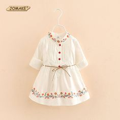 Promotion price Floral Embroidery Girls Dress Kids Long Sleeve Waist Shirt Dress For Girls New Spring 2017 Princess Style Baby Girl Clothes just only $15.37 with free shipping worldwide  #girlsclothing Plese click on picture to see our special price for you