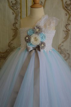 white light blue & silver flower girl Tutu by TutuSweetBoutiqueINC on etsy, $65.00