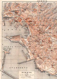 1928 Genova Italy Antique Map City Plan Genoa by Craftissimo: