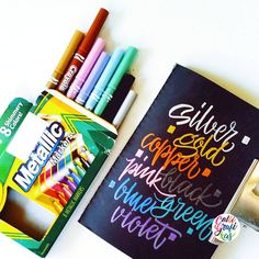 Crayola Metallic Markers the ink flows just right. They are so wet but not to… Crayola Calligraphy, Calligraphy Letters, Typography Letters, Modern Calligraphy, Watercolor Cards, Watercolour Tips, Writing Styles, Brush Lettering, Chalk Art
