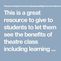 This is a great resource to give to students to let them see the benefits of theatre class including learning to take and incorporate constructive feedback. Drama Education, Feedback For Students, Social Bookmarking, Eat Right, Educational Technology, Dance Music, Quizzes, Teaching Kids, High School