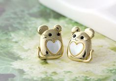 Baby Mouse Earrings Animal Lovely Heart Stud by authfashion, $11.50