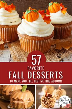 57 unique Fall Desserts recipes with apples, cinnamon, pumpkin, pecans and more. This is an epic list with all of your favorite Fall flavors and delicious sweet treats that you'll love making when the leaves start to change.