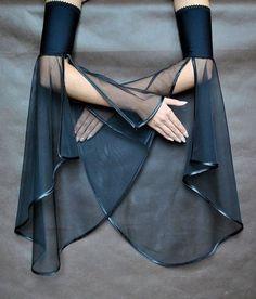 Elegant GOTHIC VAMPIRE costume Victorian Evening glones Glamour long GLOVES with mistic floune, frill, black tulle, fingerless mittens