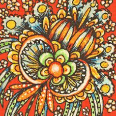 """Counted Cross Stitch Pattern Whimsical Flower in Red $6.95 Finished Size: 11"""" x 11"""" on 18 count aida. Full stitches using 2strands DMC floss. 31 colours"""