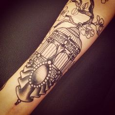 Birdcage tattoo by Sarah B Bolen, from her account Eraserbits on Instagram. #tattoo #art