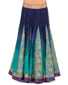 Navy Blue & Aqua Green Shaded Lehenga Set by Jade by Monica and Karishma