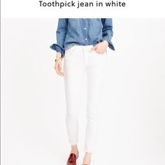 J.Crew 27 White Toothpick Jeans J.Crew white toothpick jeans in size 27. A skinny fit that is ankle length. Truly the perfect pair of white jeans! Sadly they don't fit anymore. Like new condition. No trades, but reasonable offers are welcome! J. Crew Jeans Ankle & Cropped