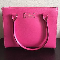 Brand New Fiesta Rose Wellesley Quinn Tote Brand New Kate Spade bag!   12'' W x 9'' H x 4.5'' D Leather Interior pockets: one zip, two slip Zip divider Imported kate spade Bags Totes