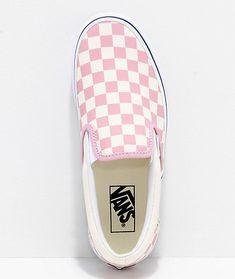c5f89a52e8 Vans Slip-On Zephyr Pink   White Checkered Skate Shoes