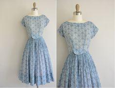 1950s RK dress / 50s dress / 1950s vintage floral print cotton dress.