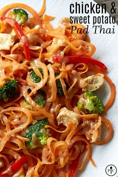 Chicken & Sweet Potato Pad Thai - This gluten-free sweet potato noodle dish curbs your Thai craving without the guilt!