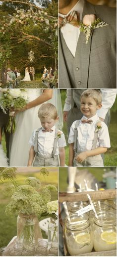 bowties and suspenders for the ring bearers.  Kind of goes with the vest and rolled sleeves of the groomsmen.