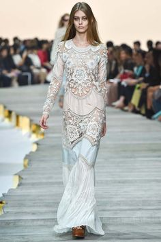 Perfect wedding dress! Roberto Cavalli Spring 2015 Ready-to-Wear white embellished cutwork gown