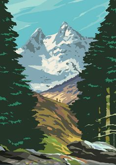 Illustration of The Cobbler by Arrochar, inspired by the style of vintage railway posters.