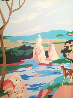 This is a paint by number done on the walls of a bathroom...I would love to do this in a room of my house