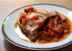 Salmon with Tomato, Onions, and Capers ~ Salmon fillets poached in a tomato onion caper sauce with white wine. ~ SimplyRecipes.com
