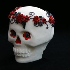 Gothic Sugar Skull OOAK Sugar Skull, beautifully handcrafted in small batches perfect for Dia De Los Muertos (Day Of The Dead), Halloween or Any Day. This Skull is decorated in black, red and gray with black accents, leaves and scrolls. Sugar Skulls are decorated with my exclusive Vida Y