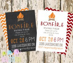 Simple Fall Party Invite, Chalkboard Bonfire Party, S'mores & Bonfire Halloween Invitation Would be fun for a chili cookout party Fall Bonfire Party, Bonfire Birthday Party, 13th Birthday Parties, Fall Birthday, 16th Birthday, Bonfire Ideas, Luau Birthday, Bonfire Night, Surprise Birthday