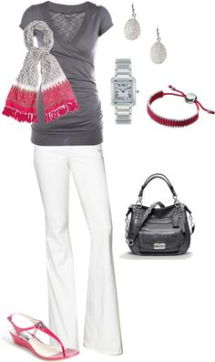 """Gray & Pink"" by vintagesparkles78 on Polyvore"
