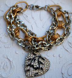 Vintage Rhinestone Heart Bracelet