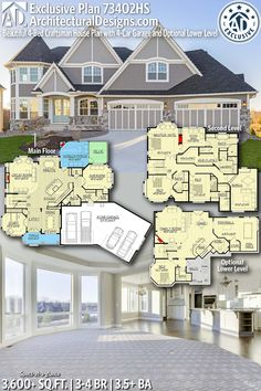 Plan Beautiful Craftsman House Plan with Garage and Optional Lower Level House Beautiful beautiful house plans Sims House Plans, Dream House Plans, House Floor Plans, Floor Plans 2 Story, Two Story House Plans, Dream Houses, Layouts Casa, House Layouts, Beautiful House Plans