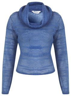 Blue Fluffy Cowl Crop Jumper - View All  - Sale & Offers