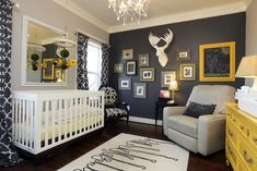 12 Fresh Color Schemes for Gender-Neutral Nurseries: Navy, Grey and Yellow Don't let the need for a neutral nursery spoil the fun! Create a look you'll love with these fresh and gender-neutral nursery colors. Grey Nursery Boy, Boy Nursery Themes, Nursery Room, Moose Nursery, Themed Nursery, Woodland Nursery, Room Themes, Grey Yellow Nursery, Nursery Dresser