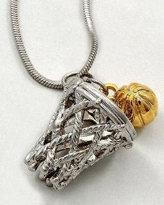 Basketball Charm Pendant Necklace Silver and Gold Tone Rhodium Plated Gift Boxed I Love Basketball, Basketball Motivation, Basketball Quotes, Basketball Necklace, Coach Gifts, Silver Pendant Necklace, Cute Jewelry, Jewlery, Lead Free