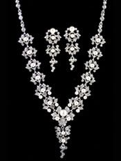 Bride's Jewelry Sets | Crystal Leaflet and Pearl Set - 2-be-unique.com