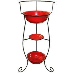 Fireside Home - K-134 Red Enamel Basin w/Vintage Stand,  #tinware #vintage #homedecor #homeaccent #gift #decor (http://www.firesidehome.ca/k-134-red-enamel-basin-w-vintage-stand/)
