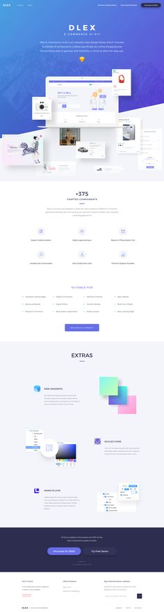 Dlex e commerce ui kit landing page