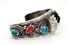 Turquoise Coral Navajo Cuff Watch Band ITEM by WarrenExchange, $185.00