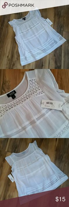 White Cotton Lace top A.n.a. Sleeveless white cotton lace top. NWT. Sz Small a.n.a Tops Tank Tops