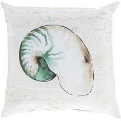 Bring elegance to your sofa and chair with this Artistic Weavers Pendine Poly Euro Pillow. Ensures good quality and durability. Green Throw Pillows, Outdoor Throw Pillows, Nautilus Shell, Illustrations, Joss And Main, Coastal Decor, Coastal Cottage, Decorative Throw Pillows, Decorative Accents