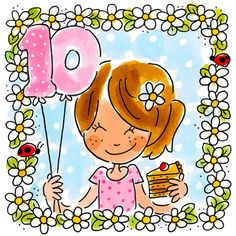 Kaart - Tien Jaar - Greetz Happy Birthday Wishes Cake, Happy Birthday Quotes, Birthday Cards, Blond Amsterdam, Blue Nose Friends, Birthday Numbers, Happy B Day, Letters And Numbers, Anniversary Cards