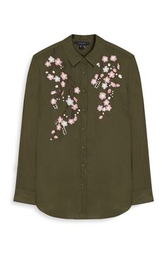 Khaki Embroidered Shirt